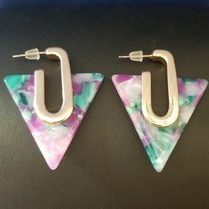 Tortoise Shell Acrylic Triangle Shaped Earrings